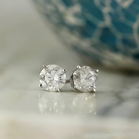 Auriya 14k Gold 1/2ctw Diamond Stud Earrings Clarity-enhanced