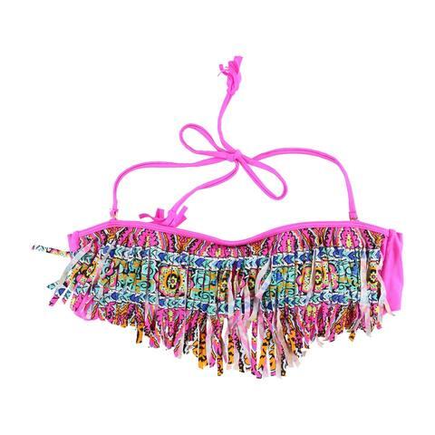 Raisins Womens Fringed Bandeau Swim Top, Pink, Medium