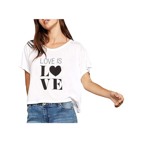 BCBGeneration Womens Love Is Love Graphic T-Shirt Grahpic Short Sleeves