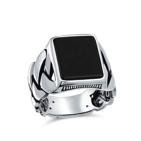 Braid Wheat Link Chain Black Onyx Square Signet Ring Sterling Silver
