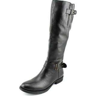 Steve Madden Alyy Women Round Toe Leather Black Knee High Boot