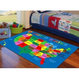 United States Map 4x6 5x7 7x10 8x10 Feet Kids Area Rug Carpet Girls Boys Washable Rubber Back New