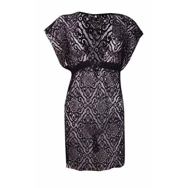 Becca by Rebecca Virtue Women's Crochet Lace Deep V Neck Coverup