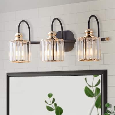 ExBrite Modern Rose Gold & Seeded Glass 3/4-light Bathroom Crystal Vanity Lights Wall Sconces