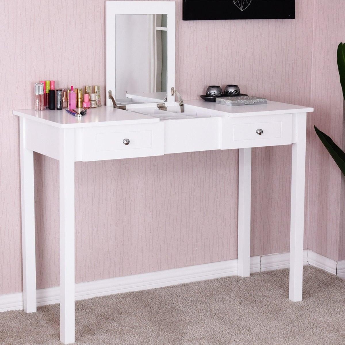 White Vanity Desk With Mirror.Costway Vanity Table Dressing Table Flip Top Desk Mirror 2 Drawers Furniture White