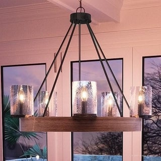 "Luxury Rustic Chandelier, 24.5""H x 27.5""W, with Vintage Style, Grey Ash Wood Design, Wood & Natural Black Finish"