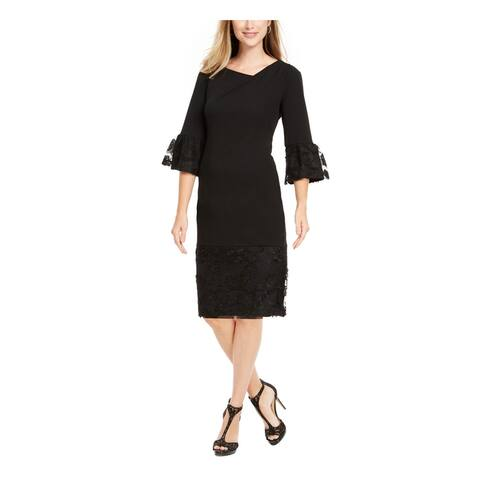 ROBBIE BEE Black 3/4 Sleeve Above The Knee Dress PM