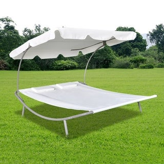 """vidaXL Outdoor Lounge Bed with Canopy & Pillows Cream White - 6' 7"""" x 5' 8"""" x 4' 5"""""""