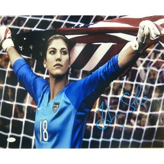 Hope Solo Autographed USA soccer 16x20 photo holding USA flag JSA