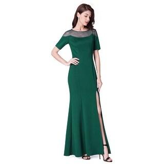 Ever-Pretty Long O-Neck Short-Sleeve Formal Evening Dress With Split 07488
