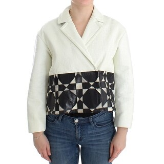 Andrea Pompilio Andrea Pompilio White Black Cropped Leather Jacket - it40-s