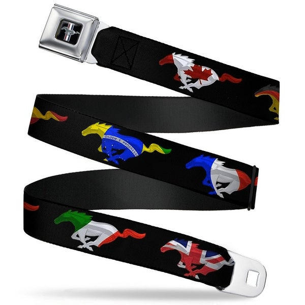 Ford Mustang Emblem Mustang Silhouette Black International Flags Seatbelt Seatbelt Belt