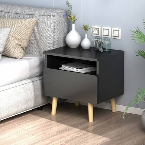 1 - Drawer Solid Wood Nightstand Bedside Cabinet
