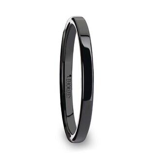 THORSTEN - FAITH Black Flat Shaped Ceramic Wedding Ring for Her - 2 mm