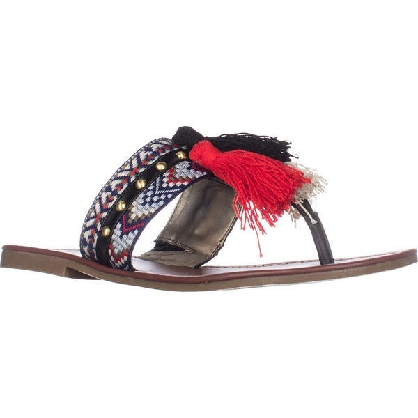 CircusSam Edelman Brice Flat Tassle Sandals, Black Multi