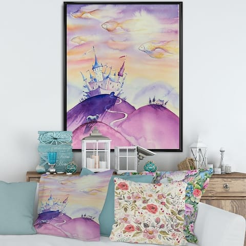 Designart 'Fairy Tale Kingdom on Purple Mountain Top' Children's Art Framed Canvas Wall Art Print