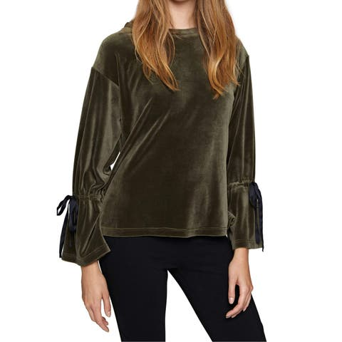 Sanctuary Olive Green Womens Size Large L Velvet Bell Sleeve Blouse