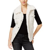 Guess Womens Stephanie Casual Vest Faux Fur Collared