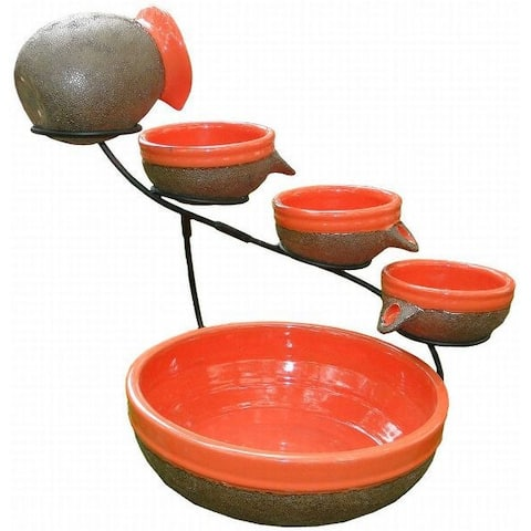 Smart Solar Ceramic Solar Cascade Fountain with Tangerine and Rust Brown Finish - Orange