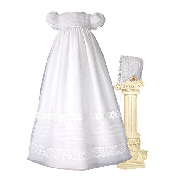 Baby Girls White Organza French Lace Pin Tuck Bonnet Christening Dress Gown