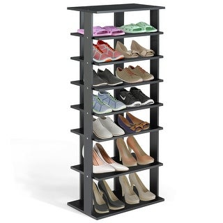 Gymax 7-Tier Dual Shoe Rack Practical Free Standing Shelves Storage Shelves Concise