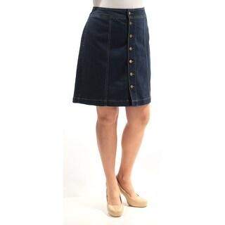 CHARTER CLUB $44 Womens New 2742 Navy Denim Above The Knee Pencil Skirt 14 B+B