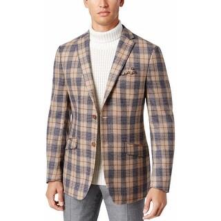 Tallia Orange Slim Fit Blue and Tan Plaid Wool Two-Button Sportcoat Blazer