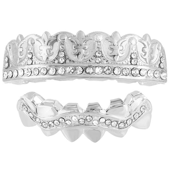 Designer Top & Bottom Grillz Set 14K White Gold Finish Simulated Diamonds On Sale