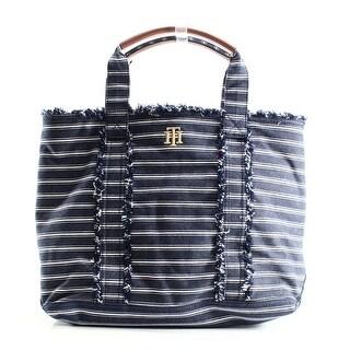 Tommy Hilfiger NEW Esme Large Denim Blue Brown Tote Handbag Purse