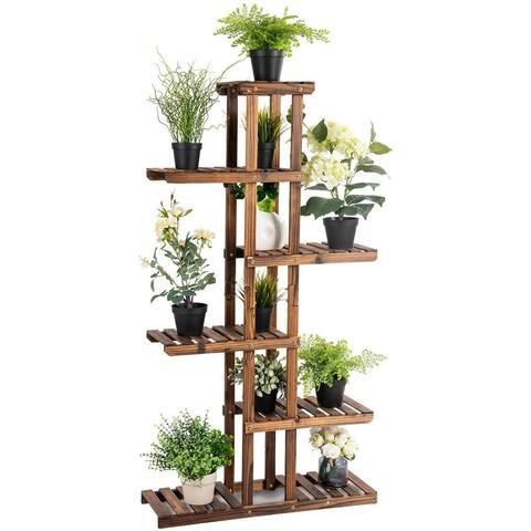 Costway 6 Tier 11 Pots Wooden Plant Flower Display Stand Wood Shelf Storage Rack Garden - as pic
