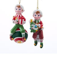 Club Pack of 12 Red and Green Jolly Elf Christmas Ornaments 4""