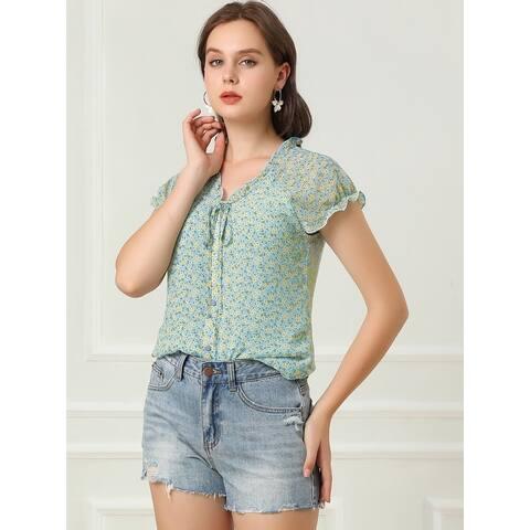 Allegra K Women's Floral Ruffles Cap Sleeve Chiffon Top