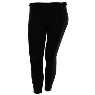 Michael Kors Women's Faux Leather Stripe Stretch Knit Pants - petite