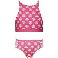 Sun Emporium Girls Coral Daisy Damask Halter 2 Pc Bikini Swimsuit