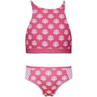 Sun Emporium Little Girls Coral Daisy Damask Halter 2 Pc Bikini Swimsuit