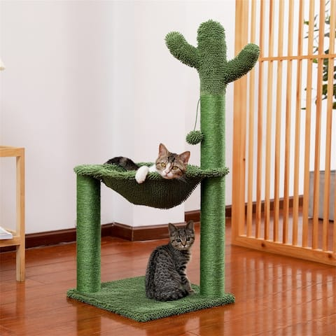 Cactus Cat Tree with Sisal Scratching Post &Hammock Play Tower