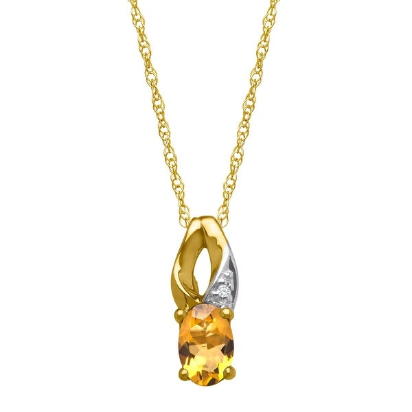 3/8 ct Natural Citrine Pendant with Diamond in 10K Yellow Gold