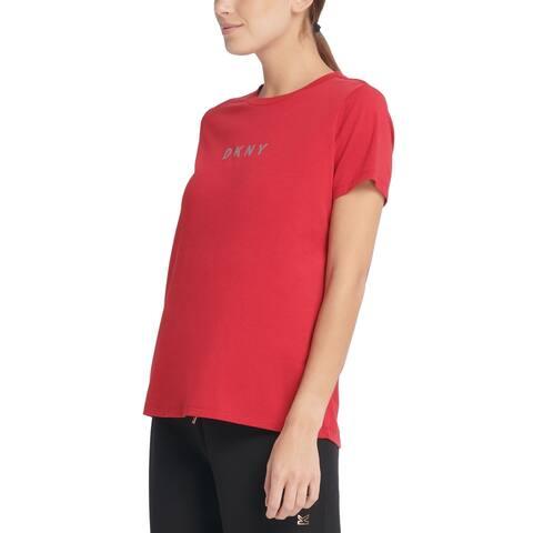 DKNY Women's Sport Metallic-Logo T-Shirt, Red, S