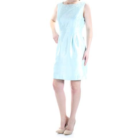 Womens Aqua Sleeveless Above The Knee Sheath Formal Dress Size: 6