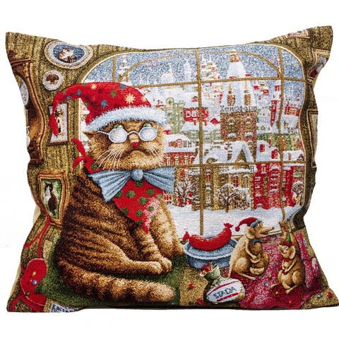 STP Goods Decorative Christmas Cat by the Window Tapestry Throw Pillow