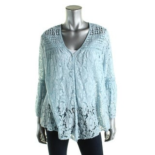 Karen Kane Womens Button-Down Top Lace 3/4 Sleeves - s