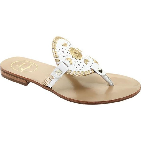 9f6e04a5b073 Shop Jack Rogers Women s Georgica Thong Sandal White Gold Leather ...
