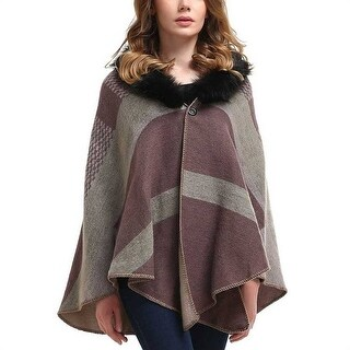 Mad Style Fur Collar Plaid Shawl