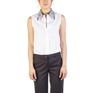 Miu Miu Women's Cotton Shimmering Collar Sleeveless Blouse Two Tone - 44