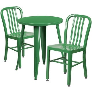 Brimmes 3pcs Round 24'' Green Metal Table w/2 Vertical Slat Back Chairs