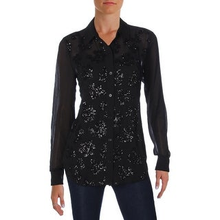 MICHAEL Michael Kors Womens Button-Down Top Chiffon Sequined