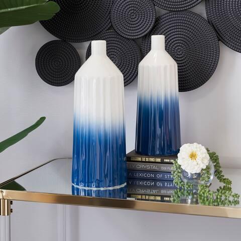 Blue Dolomite Coastal Vase (Set of 2) - 6 x 6 x 16