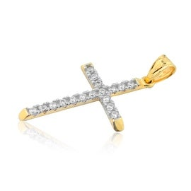 10K Gold Cross With CZ 1inch Tall Cross Charm