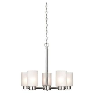 Westinghouse 6227400 Sylvestre 5 Light Single Tier Up Lighting Chandelier with Frosted Seeded Glass Shades