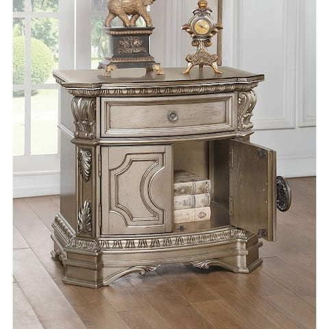 Wood Top Nightstand With One Drawer And Two Door Shelf, Antique Champagne